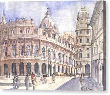 Genova Piazza De Ferrari Canvas Print by Luca Massone