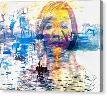Gentle Colorful Eva Longoria In Monets Overlay Canvas Print by Algirdas Lukas