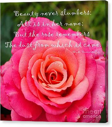Gentle Rose Always Remembers - Rose - Quote Canvas Print by Barbara Griffin