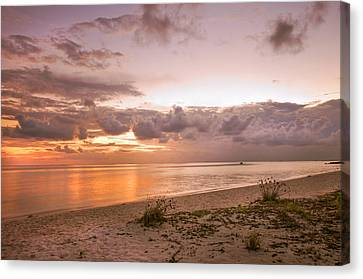 Gentle Time Of Sunrise In Tropical Island Canvas Print