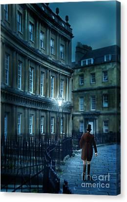 Gentleman Walking At Night Canvas Print by Jill Battaglia