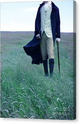 Gentleman Walking In The Country Canvas Print by Jill Battaglia