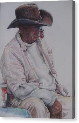 Gentleman Wearing The Dark Hat Canvas Print by Sharon Sorrels