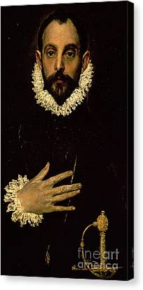Gentleman With His Hand On His Chest Canvas Print by El Greco Domenico Theotocopuli
