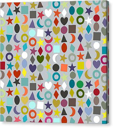 Patterned Canvas Print - Geo Garland Silver by Sharon Turner