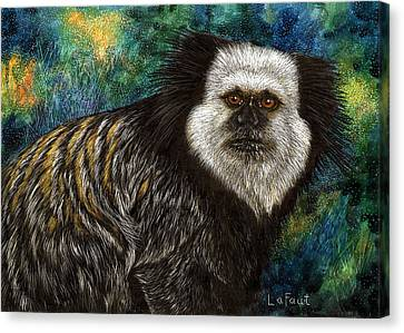 Canvas Print featuring the drawing Geoffrey's Marmoset by Sandra LaFaut