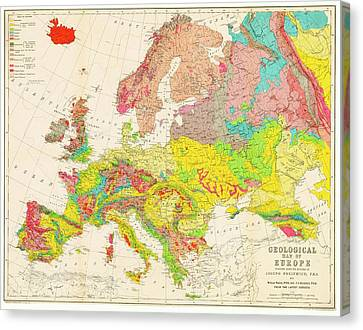 Geological Map Of Europe Canvas Print