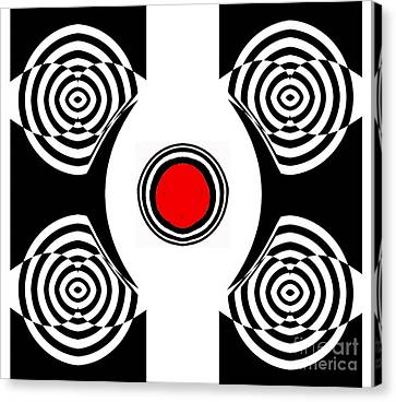 Geometric Abstract Black White Red Art No.400 Canvas Print by Drinka Mercep