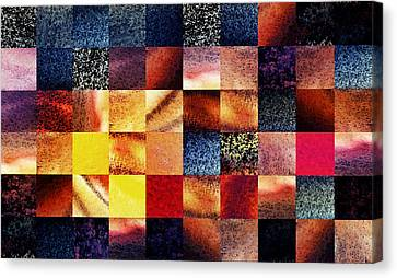 Geometric Abstract Design Sunrise Squares Canvas Print by Irina Sztukowski