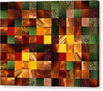 Geometric Abstract Quilted Meadow Canvas Print by Irina Sztukowski