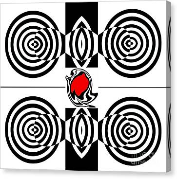 Geometric Art Black White Red Abstract No.382. Canvas Print by Drinka Mercep