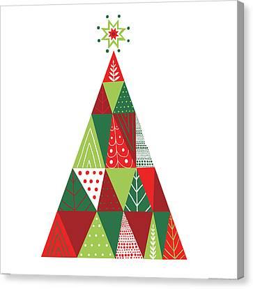Geometric Holiday Trees I Canvas Print by Michael Mullan