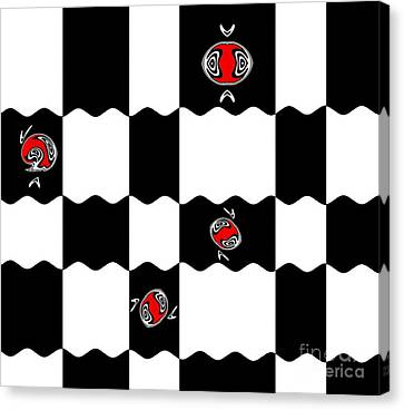 Geometric Minimalistic Art Black White Red Abstract Print No.228. Canvas Print by Drinka Mercep