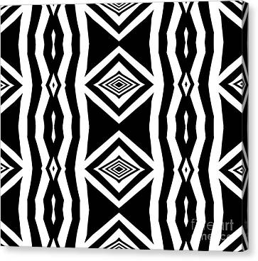 Geometric Pattern Abstract Black White Art No.339. Canvas Print by Drinka Mercep