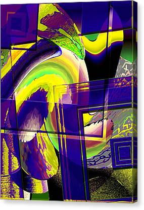 Geometrical Art With Yellow And Lilac Canvas Print by Mario Perez