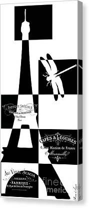 Geometrical Eiffel Tower Canvas Print by Marion De Lauzun
