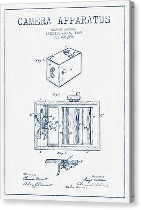 George Eastman Camera Apparatus Patent From 1889 - Blue Ink Canvas Print by Aged Pixel