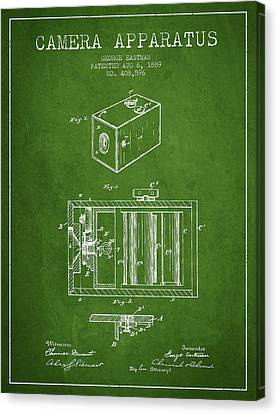George Eastman Camera Apparatus Patent From 1889 - Green Canvas Print by Aged Pixel