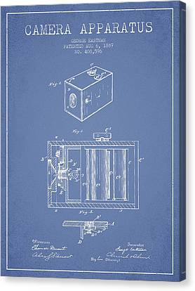 George Eastman Camera Apparatus Patent From 1889 - Light Blue Canvas Print