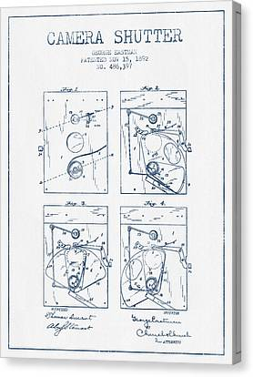 George Eastman Camera Shutter Patent From 1892 - Blue Ink Canvas Print