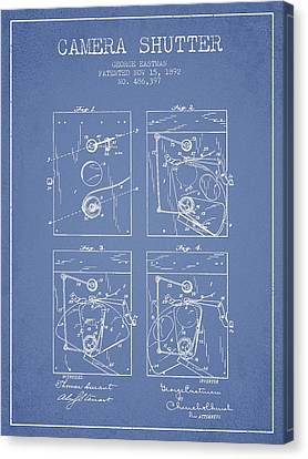 George Eastman Camera Shutter Patent From 1892 - Light Blue Canvas Print by Aged Pixel