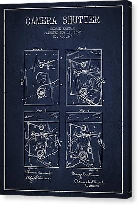 George Eastman Camera Shutter Patent From 1892 - Navy Blue Canvas Print by Aged Pixel