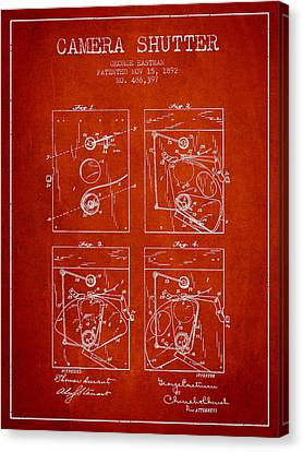 George Eastman Camera Shutter Patent From 1892 - Red Canvas Print by Aged Pixel