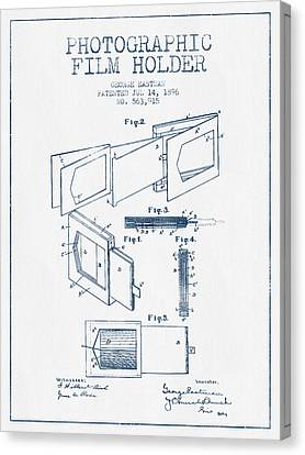 George Eastman Film Holder Patent From 1896 - Blue Ink Canvas Print