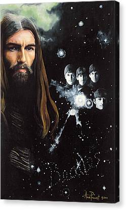 George Harrison And The Beatles Canvas Print by Anne Provost