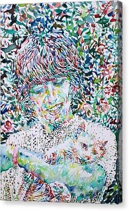 George Harrison With Cat Canvas Print by Fabrizio Cassetta