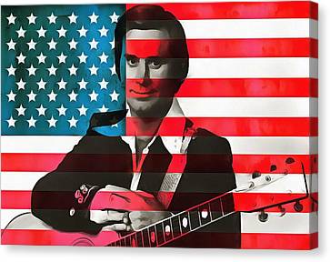 Lightning D Canvas Print - George Jones American Country by Dan Sproul