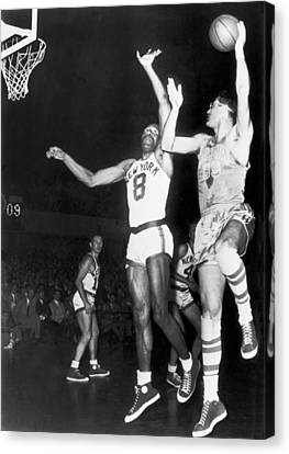George Mikan Hook Shot Canvas Print by Underwood Archives