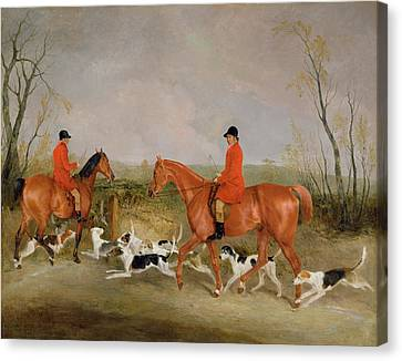 George Mountford, Huntsman To The Quorn, And W. Derry, Whipper-in, At John Ogaunts Gorse, Nr Melton Canvas Print by Richard Barrett Davis