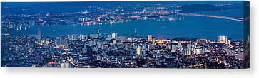 George Town Penang Malaysia Aerial View At Blue Hour Canvas Print by Jit Lim