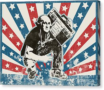 Graffiti Canvas Print - George Washington - Boombox by Pixel Chimp
