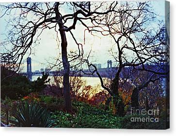 George Washington Bridge At Sunset Canvas Print by Sarah Loft