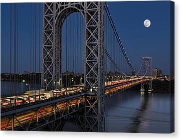 George Washington Bridge Moon Rise Canvas Print by Susan Candelario