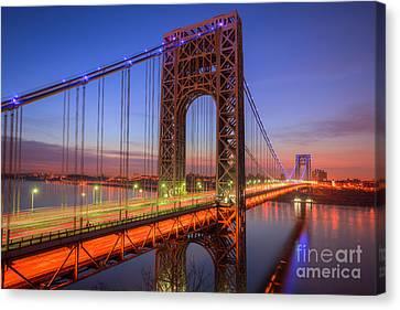 George Washington Bridge Morning Twilight I Canvas Print by Clarence Holmes