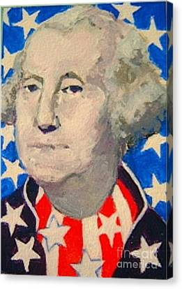 George Washington In Stars And Stripes Canvas Print by Diane Ursin