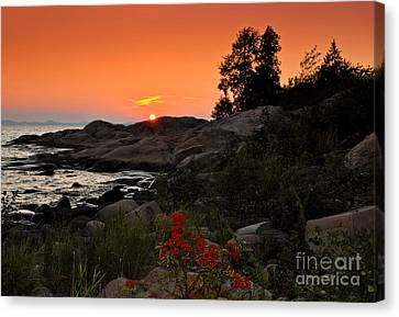 Georgian Bay Sunset Canvas Print by Les Palenik