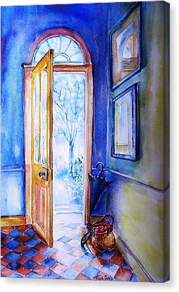 Canvas Print featuring the painting Winter Doorway Ireland    by Trudi Doyle