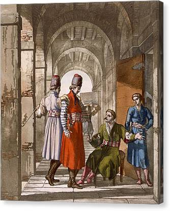 Georgian Men Chatting And Smoking In An Canvas Print by Italian School
