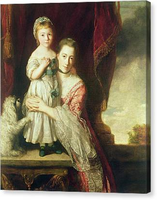 Georgiana, Countess Spencer With Lady Georgiana Spencer, 1759-61 Oil On Canvas Canvas Print by Sir Joshua Reynolds