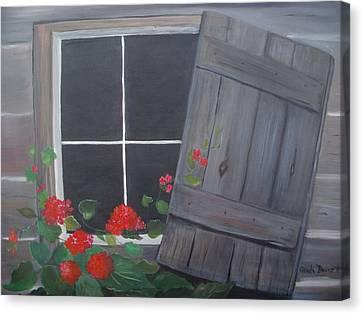 Geraniums At Log Cabin Canvas Print by Glenda Barrett