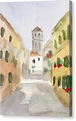 Geraniums Cannaregio Watercolor Painting Of Venice Italy Canvas Print by Beverly Brown