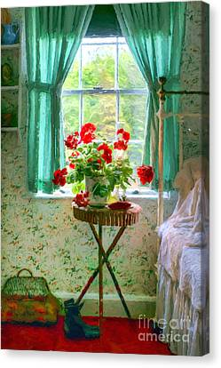 Geraniums In The Bedroom Canvas Print by Nikolyn McDonald