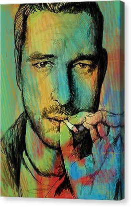 Gerard Butler - Stylised Pop Art Drawing Sketch Poster Canvas Print