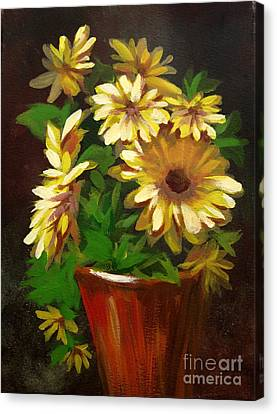 Canvas Print featuring the painting Gerber Daisies 3 by Carol Hart