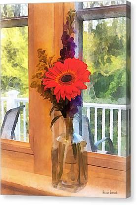 Gerbera Daisy By Kitchen Window Canvas Print by Susan Savad