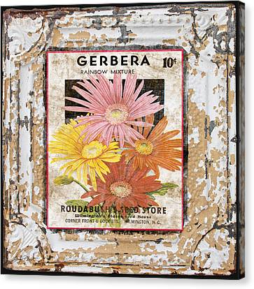 Gerbera On Vintage Tin Canvas Print by Jean Plout